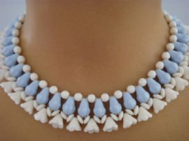 Vintage Pressed Glass Collar - Blue and White Flower Necklace - 1940s -1950s Necklace (sold)